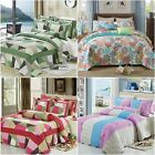Queen Size Quilted Bedspreads Set Floral Patchwork Coverlets Blanket Throw New