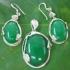 100% REAL 925 sterling silver Real Genuine Green Oval JADE Set Women