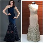 NWT JOVANI 5135 ROCHED ONE SHOULDER MARMAID COLOR CAFE $799 SZ 4,6,8,10,12.14