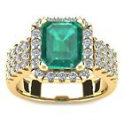 14K YELLOW GOLD 3 CT EMERALD SHAPE GENUINE EMERALD AND HALO DIAMOND RING