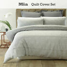3 Pce MIA Silver Grey Jacqurd Quilt Cover Set by Phase 2 - DOUBLE QUEEN KING