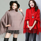 Women Ladies Tassel Bat Sleeve Pullover Coats Turtleneck Shawl Knitted Poncho
