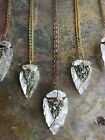 Clear Quartz Wire Wrapped Arrowheads with Crushed Pyrite Necklaces