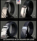 """up to 43"""" Leather Dress Belt, Click Comfort. Automatic Lock"""