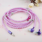 In-ear Bling Diamond Pearl Chain Stereo Earphone Earbud For Samsung iPhone PC