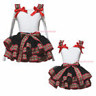 Xmas White Top Red Green Check Plaid Black Satin Trim Skirt Girl Outfit NB-8Year