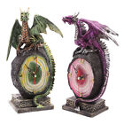 Crystal Geode Gothic Dragon Clock Ornament Dragons Figurine Figure Desk Standing