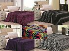 Animal Print Super Soft Luxurious Fleece Throw Blanket Bedding Zebra & Leopard image