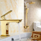 "Gold Bathroom 8"" Square Rainfall Shower Faucet Set Tub Mixer Tap with Hand Spray"