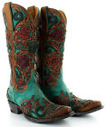 L2408-4 OLD GRINGO ABELINA TURQUOISE FLORAL HAND TOOLED WESTERN BOOTS