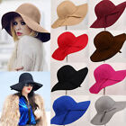 Women's Vintage Fashion Wide Brim Floppy Warm Wool Felt Bowler Fedora Hat Cap