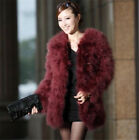 Women Real Farm Ostrich Feather Turkey Just Coming Fur Coat Jacket Long Sleeve