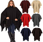 New Women's Ladies Ribbed Cape Shawl Wrap With Frill Edge One Size