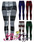 New Women's Ladies Thick Knitted Check Tartan Leggings Size 8-14