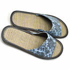 Women's Artificial Leather Floral Print Summer Slippers Sandals Indoor Mules New