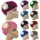 Women Indian Stretchy Pleated Pearl Flower Turban Chemo Hat Headwrap Cap