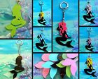 MERMAID CHARM KEYRING OR NECKLACE PENDANT HANDMADE ACRYLIC SILHOUETTE OR GLITTER