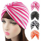 Women Indian Stretchy Cotton Hat Striped Twist Turban Headwrap Cap Head Cover