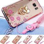 Soft Flower TPU Bling Ring Sling Stand Case Cover for Samsung Galaxy S Series