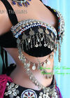 Black Double Chain Bra with Multicolored Trim Belly Dance Tribal ATS Fusion
