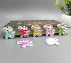 DIY  Multi-Colour Monkey Pattern Wooden Buttons Sewing Scrapbook Craft 29mm