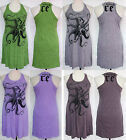 Octopus Print Stretch Wrinkle Soft COTTON Racer Back TANK DRESS Sz L Large