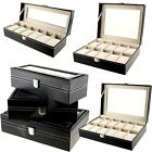 6/10/12 Jewellery Watch Leather Cover Storage Display Case Box Collector Black