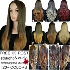 US Mail 25 Long Half Wig no Bangs Wave Straight Multi Color Two Tone Ombre Wigs