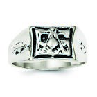 Sterling Silver Antiqued Masonic Ring - Ring Size: 9 to 11