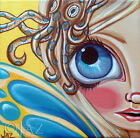"""Art Print """"Blue Ringed Octopus Fairy"""" blue and yellow big eyed girl lowbrow Jaz"""