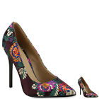 Damen Pumps Bestickt Blumen Samt High Heels Stilettos 814390 New Look