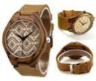 Luxury Men's Women's Bamboo Wood Watch Quartz Leather Wristwatches Fashion New