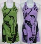 Buddha Face Print Wrinkle Soft COTTON MINI TANK DRESS Tunic TOP Sz S Small