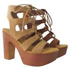 BAMBOO EF87 Women's Studded Strappy Lace Up Platform Chunky Heel Sandals