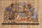 "Egyptian Papyrus Painting Tutankhamen Hunting Ostriches 7X9"" + Hand Painted #34"