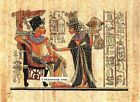 "Egyptian Papyrus Painting - King Tut and Wife 8X12"" + Hand Painted #33"