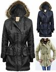 Womens Parka Jacket Coat Ladies Thin Quilted Faux Fur Hood Zip Up Toggle Button