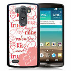 PERSONALIZED VALENTINES RUBBER CASE FOR LG G3 G4 G5 TYPOGRAPHY HEART PINK RED