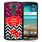 PERSONALIZED VALENTINES RUBBER CASE FOR LG G3 G4 G5 HEARTS CHEVRON RED PINK