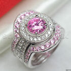 Pink Sapphire Round Cut Halo Three Ring 925 Silver Engagement & Wedding Ring Set
