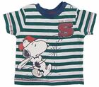 Baby Boys Snoopy T-Shirt Green And White Stripe Team Snoopy Baseball 0-3 -18-24M