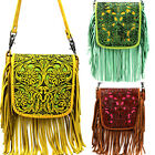 Montana West Handbag 100% Genuine Leather Tooled Fringe Cross Body Bag Purse NEW
