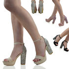 WOMENS ANKLE STRAP GLITTER HEEL PLATFORM LADIES PEEPTOE PARTY PROM SANDALS SHOES