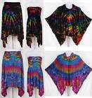 3 in 1 Tie Dye Asymmetrical Hem Stretch Skirt Strapless Top Topper Poncho Sz S-M