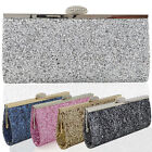 NEW WOMENS SPARKLY GLITTER CLUTCH BAG SILVER GOLD BRIDAL PROM PARTY PURSE