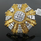 Vintage David Webb 15.0ct Diamond & 18K White & Yellow Gold Hammered Brooch