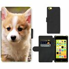 Phone Card Slot PU Leather Wallet Case For Apple iPhone Running Corgi puppy