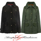 New Ladies Quilted Padded Parka Military Warm Thick Womens Trendy Jacket Coat
