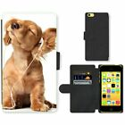 Phone Card Slot PU Leather Wallet Case For Apple iPhone Funny puppy in headphone