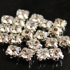 144 10mm SEW-ON faceted cut GLASS DIAMANTE RHINESTONE CRYSTAL silver claws beads